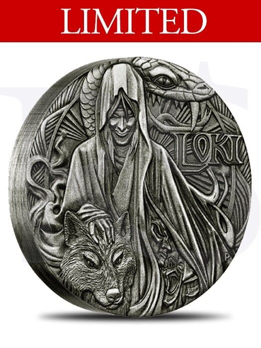 2016 Loki Norse Gods 2 oz sølvmynt - Hvalstad  - 2016 Perth Mint Norse Gods Loki Rimless Antiqued 2 oz Silver Coin   The final release in the incredible Norse Gods series features the shape-shifter Loki, the god of fire.   Each coin is struck by The Perth Mint from 2oz of 99.9% pure silv - Hvalstad
