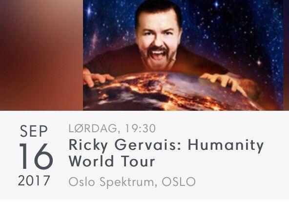 Billett til Ricky Gervais Oslo Spektrum 16. september - Jar  - Starter 19:30.  Felt: 105 Rad: 6 Plass: 1 - Jar