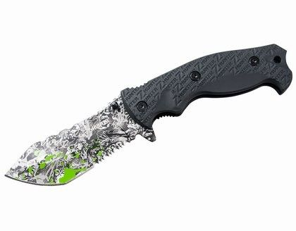 Ny Zombie Hunter Kniv - Grålum  - spesifikasjoner Bladlengde: 101 mm Tykkelse på blad: 4 mm Håndtak: gummi Lås: frame-lock Samlet lengde: 225 mm Vekt: 200 g - Grålum
