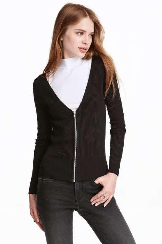7e481a26 svart cardigan genser h&m xs 34 s 36 glidelås sort black sweater ny nytt |  FINN.no