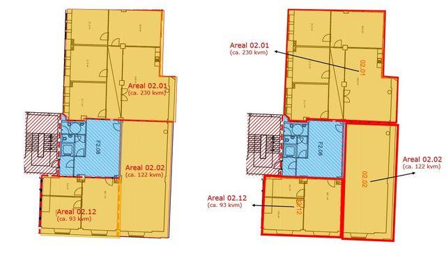 Plantegning. Kontorarealer kan leies ut samlet (445 m2) eller separat (fra 122 m2 og opp til 445 kvm). Plantegningen er kun ment som en skisse og er ikke målbar.