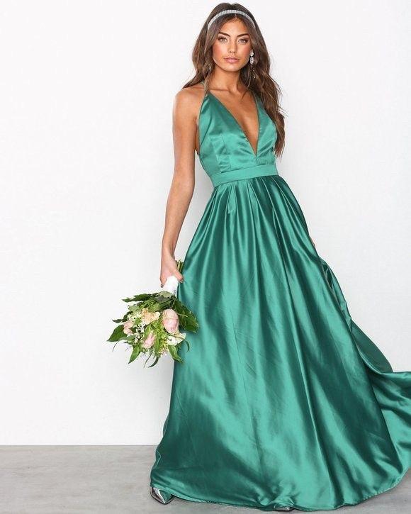 Lang grønn kjole | FINN.no