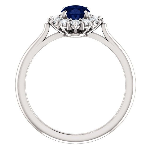 b2a512c1 Anna ring med blå safir og 0.30 carat diamanter   FINN.no