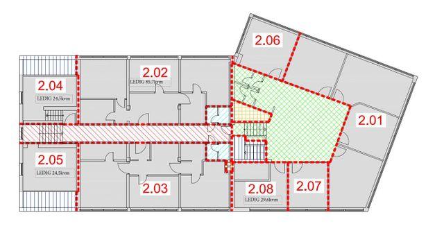 Hoffsveien 92 - Oversikt over ledige kontor lokaler i 2 etasje