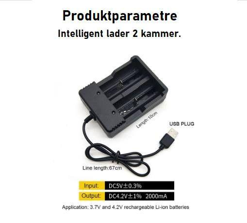 Lader for store runde batterier (type 18650 o.l.) | FINN.no