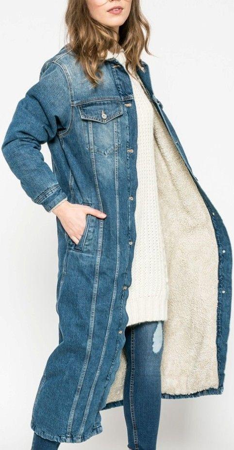 Kul Pepe Jeans denim varm lang jakke i str.S | FINN.no