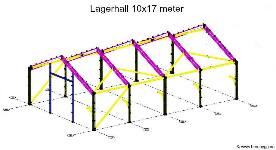 Modernistisk 10x17 meter lagerhall, stålhall, garasje, landbruksbygg mm. selges PI-18