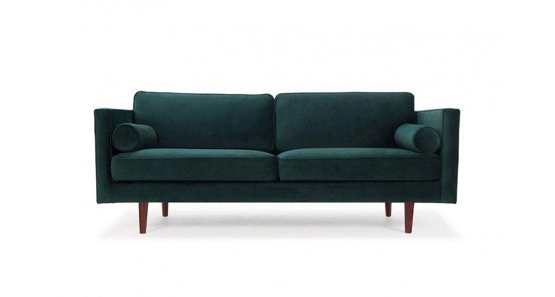 Storslått Harper, 3-seter sofa i tekstil Velour Dark Green   FINN.no PN-31