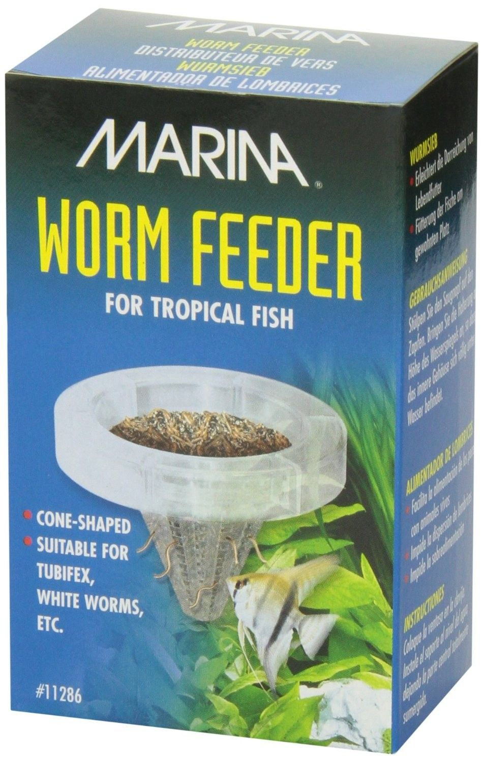 Worm feeder - Drøbak  - Marina Worm Feeder makes feeding live food and worms to tropical fish easy and convenient. The feeder consists of a cone-shaped feeding basket with a suction cup that securely attaches to the aquarium glass. The basket prevents live food, such  - Drøbak
