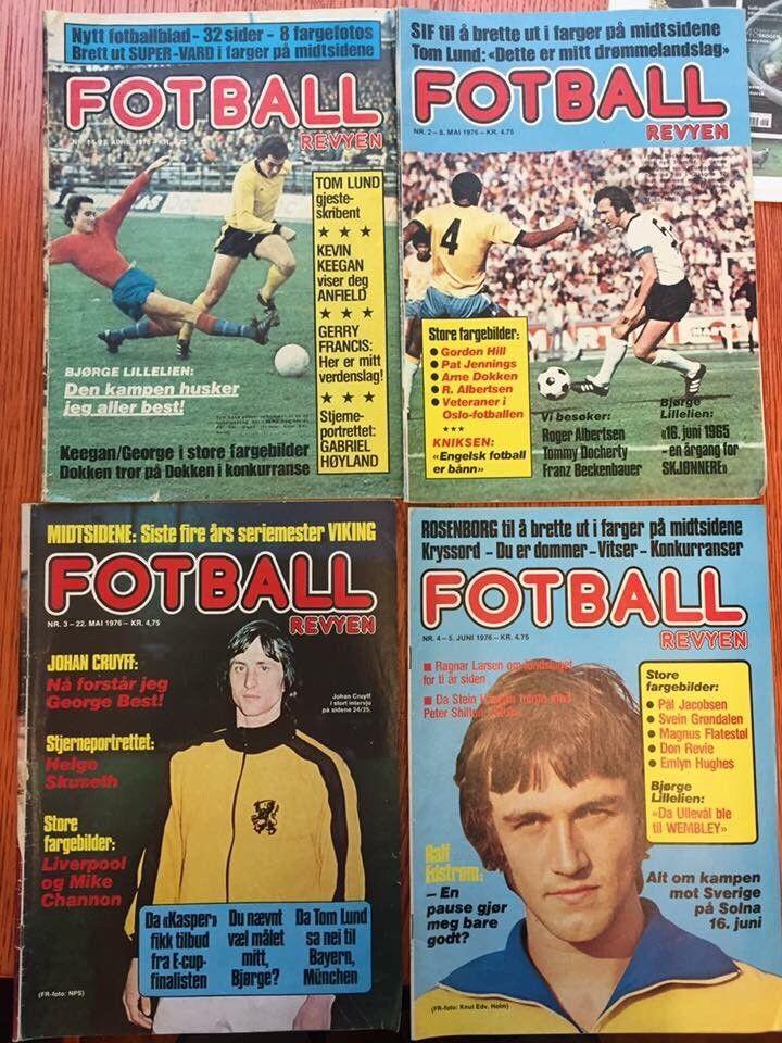 Fotballrevyen 1976 - 1978 selges! Liverpool Manchester United Cruyff mm. - Bærums Verk  - Fotballrevyen selges! Mye Liverpool-stoff i disse bladene   Følgende nr tilbys:   1976 Nr 1 Første utgave 100 kr  Selges for 75 kr stk:  1976: 2, 3, 4, 6, 7, 8, 9, 10, 11, 12&# - Bærums Verk