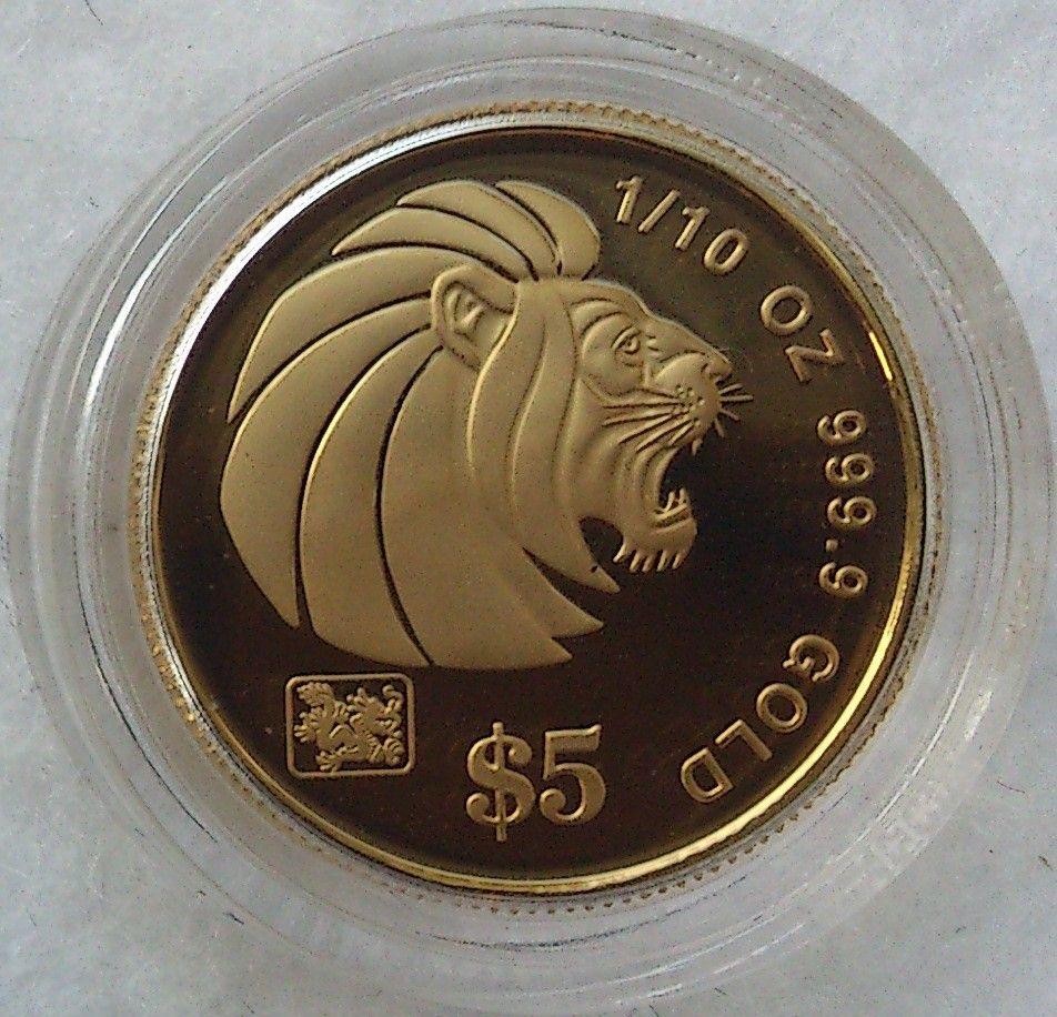 2000, Gold Lion, gull - Krokkleiva  - 2000 Singapore, 1/10 oz, 9999 gull. Proof mynt i kapsel. Selges kr 1475,-+ porto , (skam-bud er unødvendig).  Vennligst ikke ring, send sms, pga sykdom. - Krokkleiva