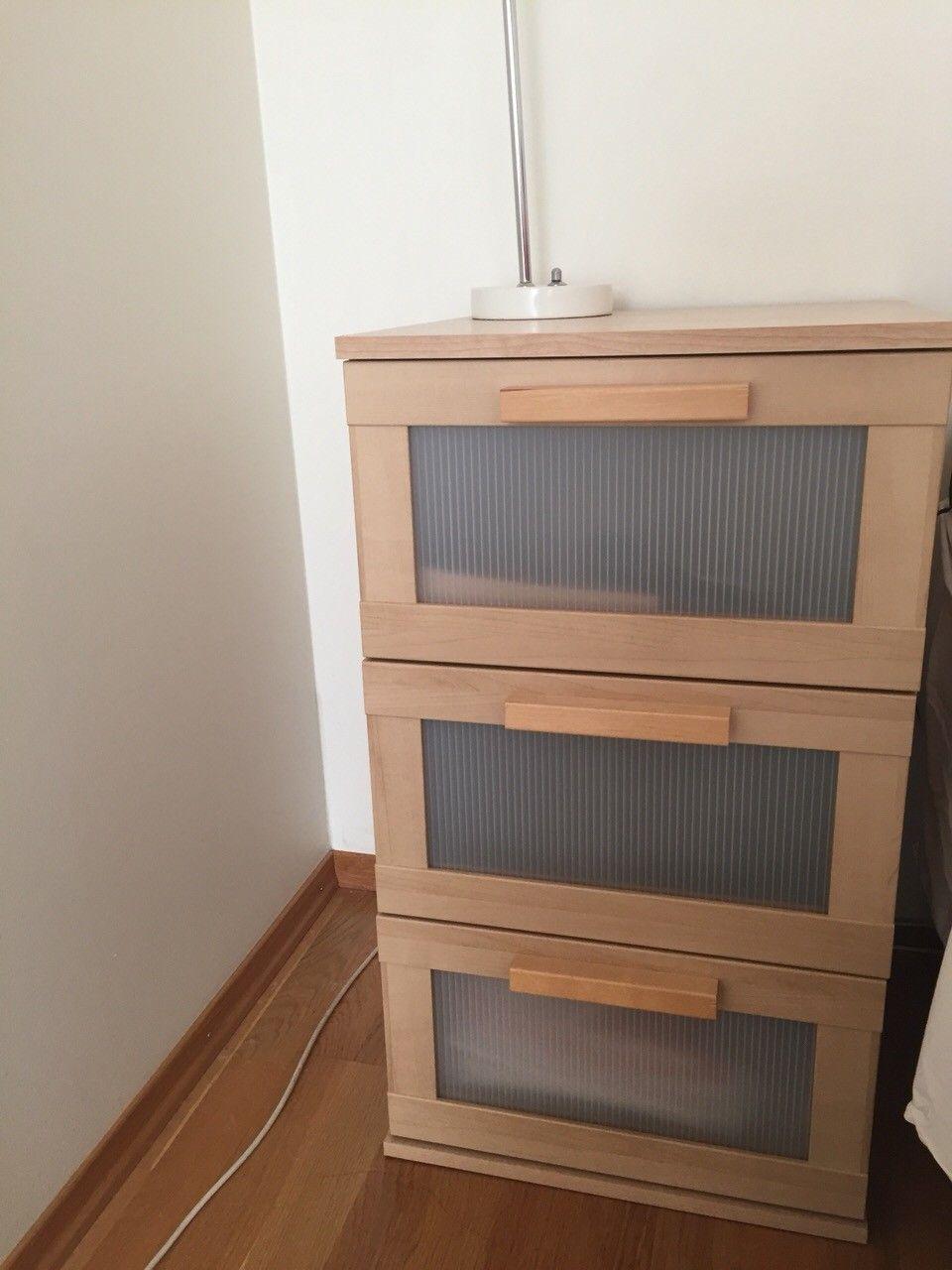 Aneboda Ikea nattbord - Lillestrøm  - Aneboda Ikea nattbord i god stand med 3 stk skuffer. 4 stk bein medfølger også.  Mål: Høyde:81cm. med bein, bredde:40, dybde:40 - Lillestrøm