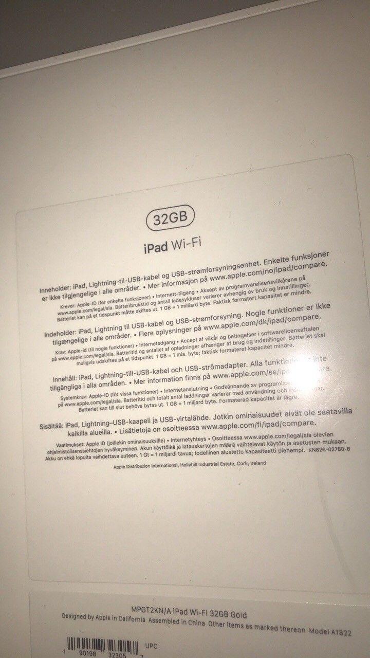 Ipad 9.7 Wi-Fi 32 gb 2017 Gold - Tønsberg  - Ipad 9.7 Wi-Fi 32 gb 2017 Gold. Helt ny, ligger i forseglet eske. Aldri åpnet. Zeta slim deksel til iPad følger også med. Fra Telenor.  Ta kontakt for eventuelle spørsmål