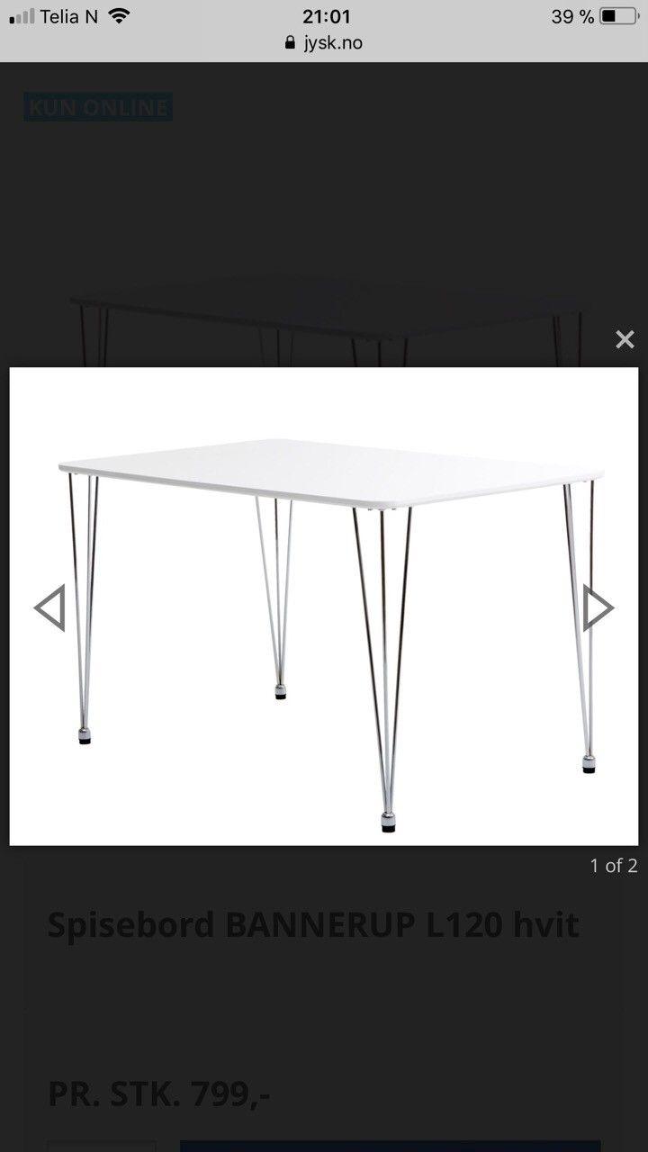 Bannerup spisebord fra Jysk og 4 Tommerup stoler - Ranheim  - Bannerup spisebord fra Jysk selges.  Mål : 120L, 75B, 73H . Følger også med 4 stk Tommerup stoler fra jysk, men disse er noe ustabile.  Nypris bord 799kr, nypris stoler 200kr per stk.  Bildene er fra nettsiden da bordet er demontert. - Ranheim