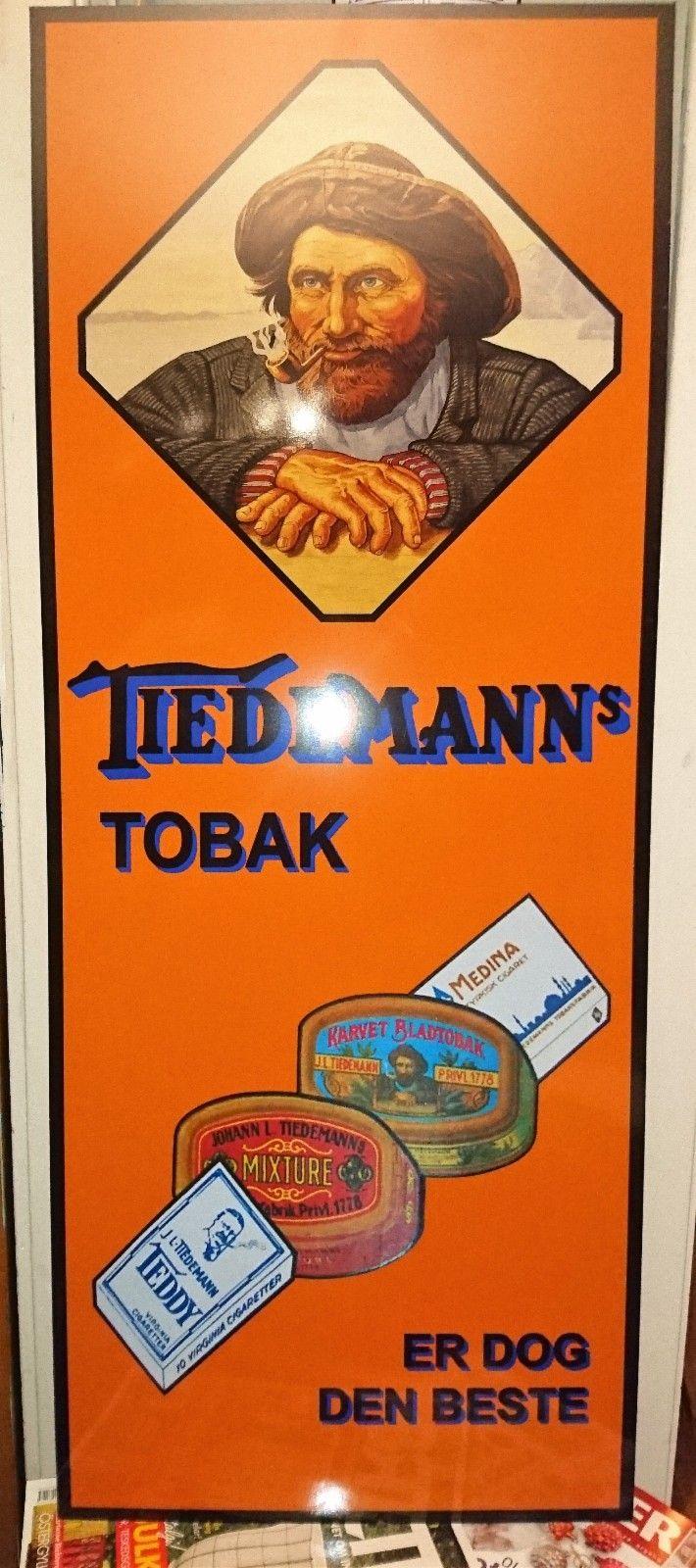 Tiedemanns tobak skilt 1m x 40 cm repro - Kongsvinger  - nytt reprodusert skilt 1m x 40 cm gjenskinn av blitz på bildet.....helt strøkent - Kongsvinger