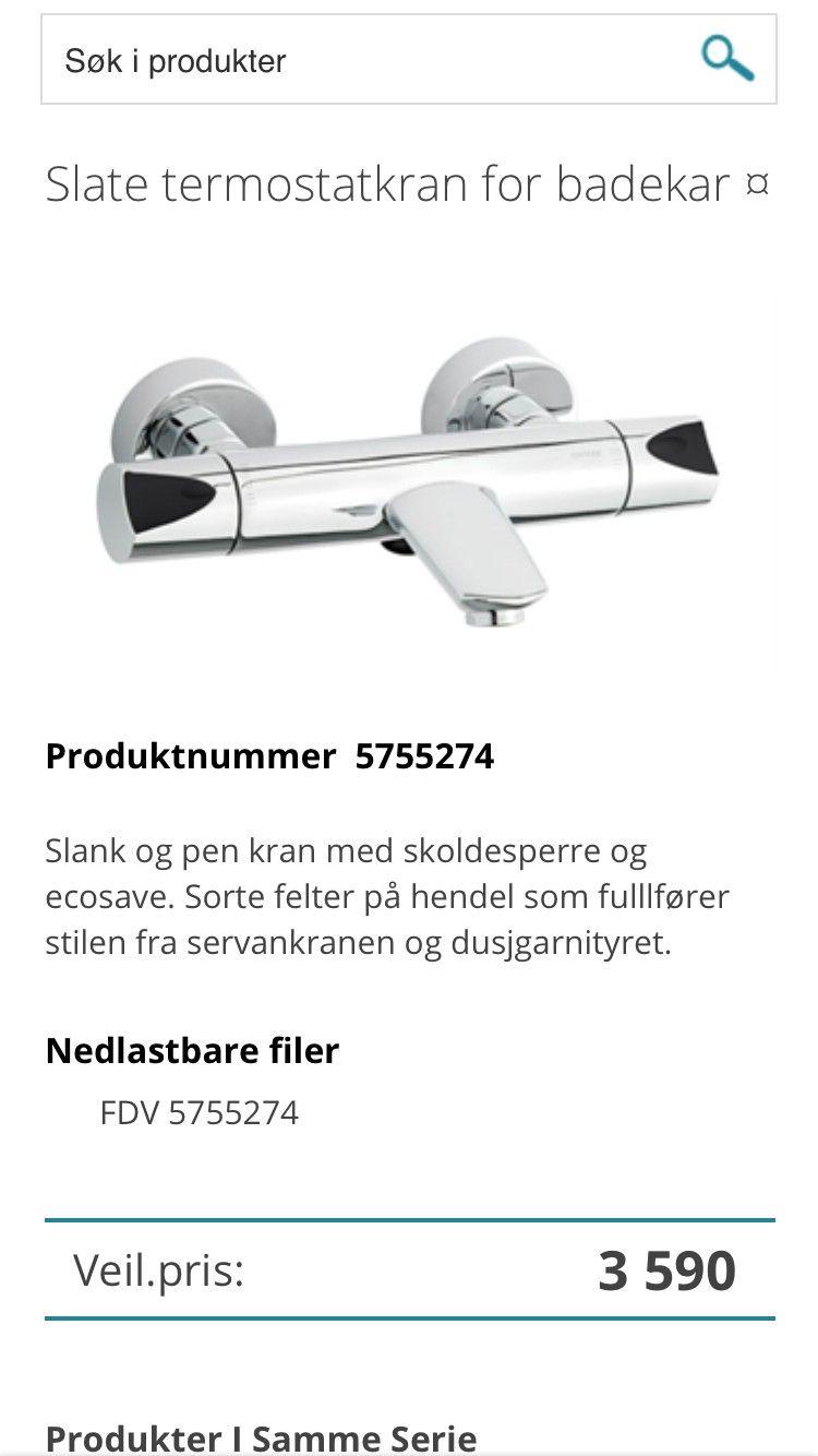 Slate termostatkran for badekar . Helt ny - Sandvika  - Kvalitet av Damixa  Selges billig - Sandvika