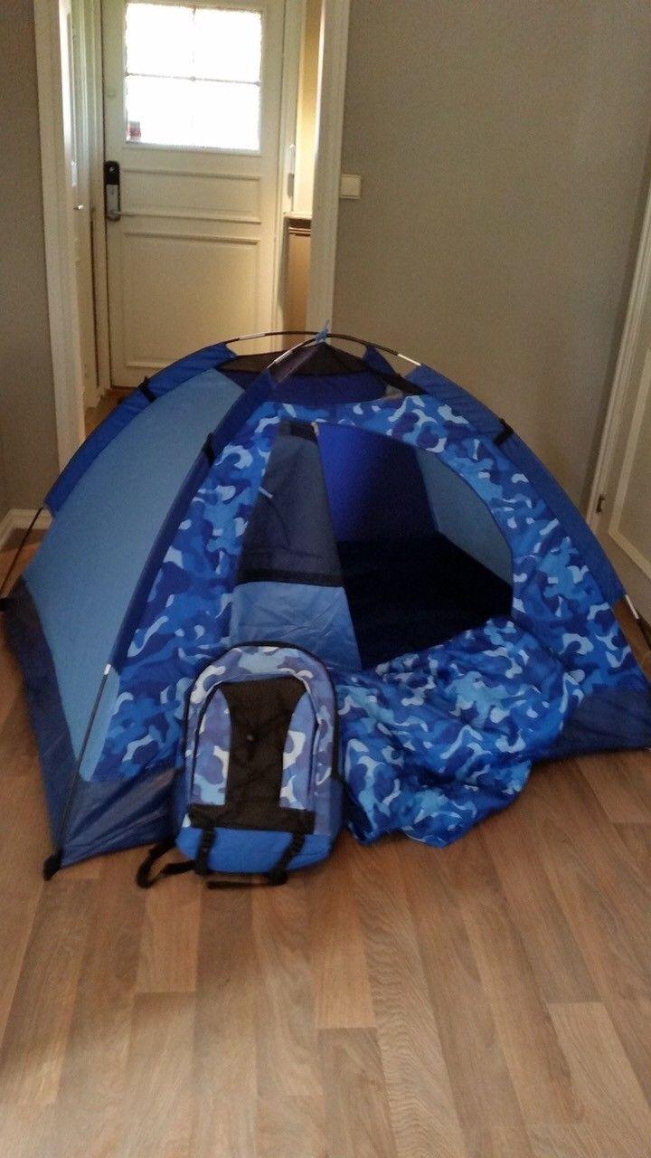 Telt og sovepose i ryggsekk - Yven  - Nytt tursett (blå) for barn. Telt er 123x152, høyde 89. Sovepose 65x133. Med ryggsekk 150,-  Telt og sovepose (rød) kr 100. - Yven