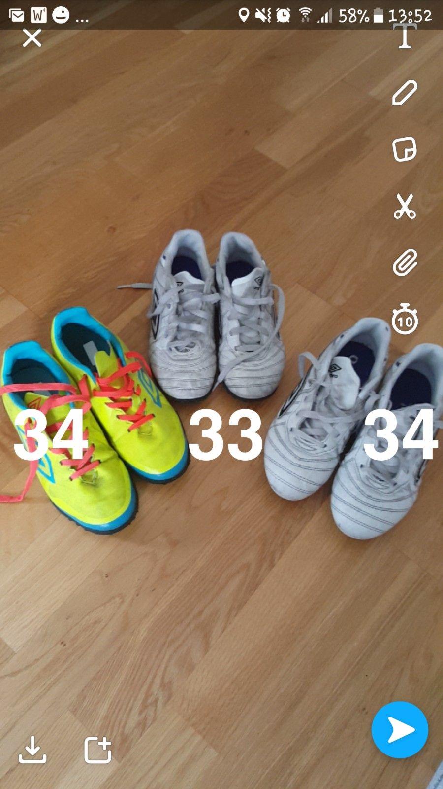 Umbro fotballsko str 33 og 34 - gutt - Kleppestø  - Umbro fotball sko til gutt. Pent brukt. Kr 50-, for paret. - Kleppestø