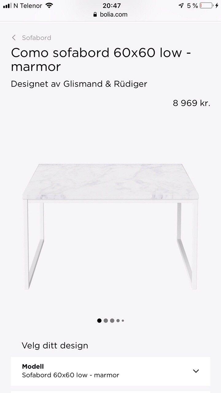 Ny Pris Sofabord I Hvit Carrara Marmor Fra Bolia Com Finn No