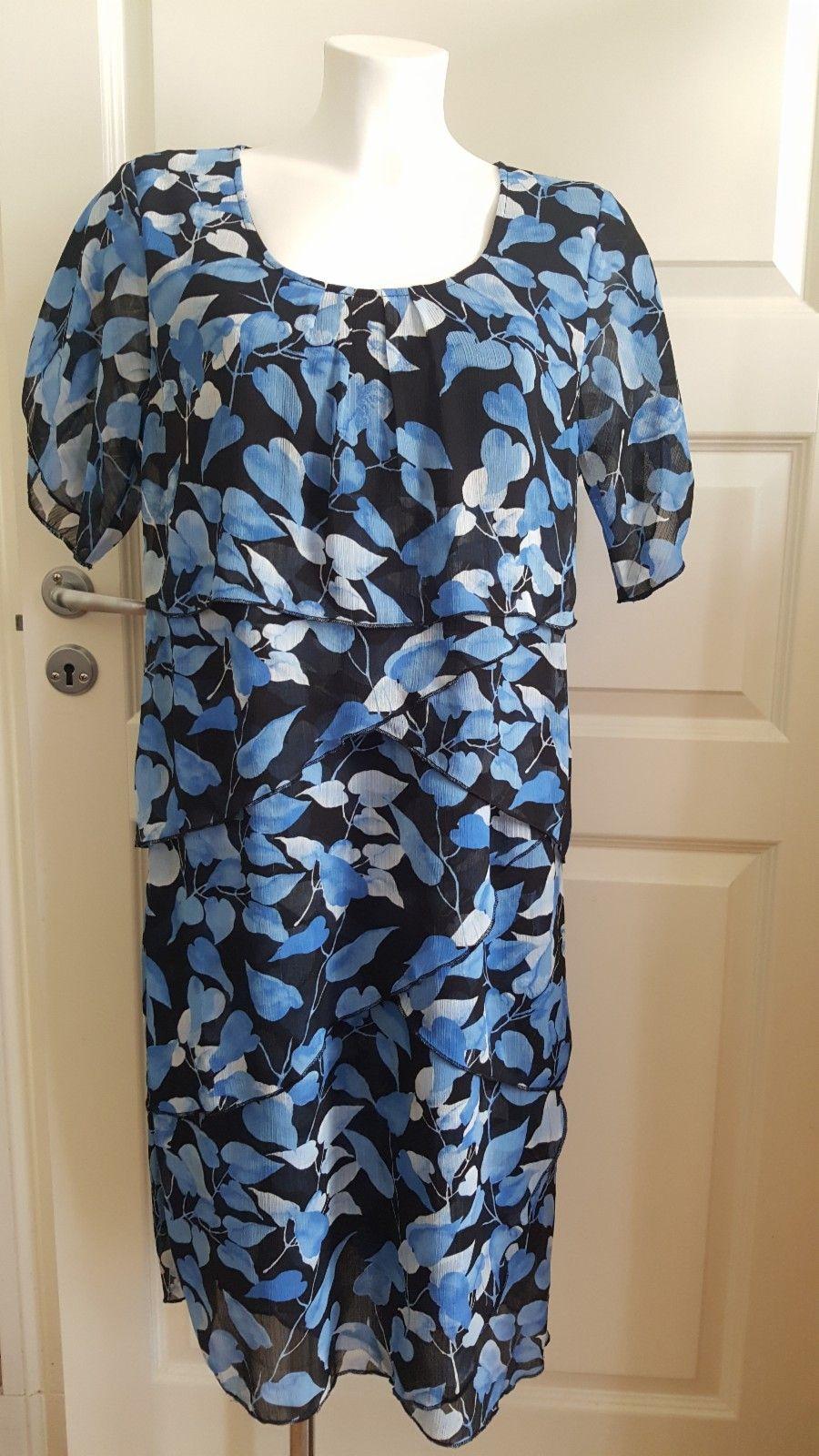 Lekker kjole. Sort med BLÅ blader. HANNA. | FINN.no