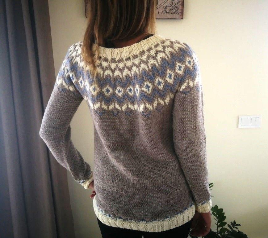 Islandsk genser (M) gråblå | FINN.no