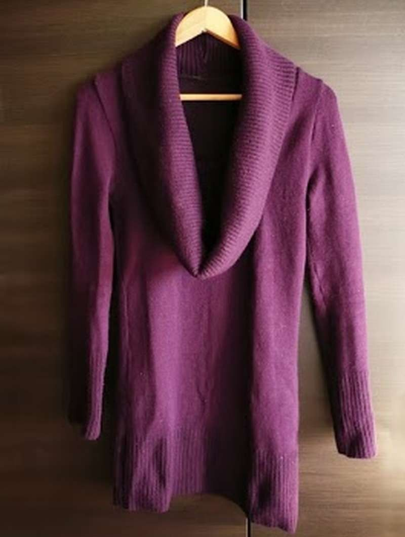 Violet turtleneck dress svart grå genser kjole 36 S sweater