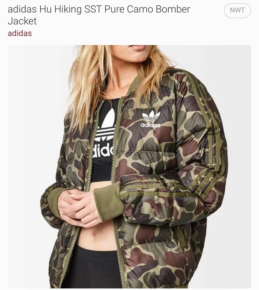 Adidas Originals Pharrell Williams Camo Puffer Jacket In