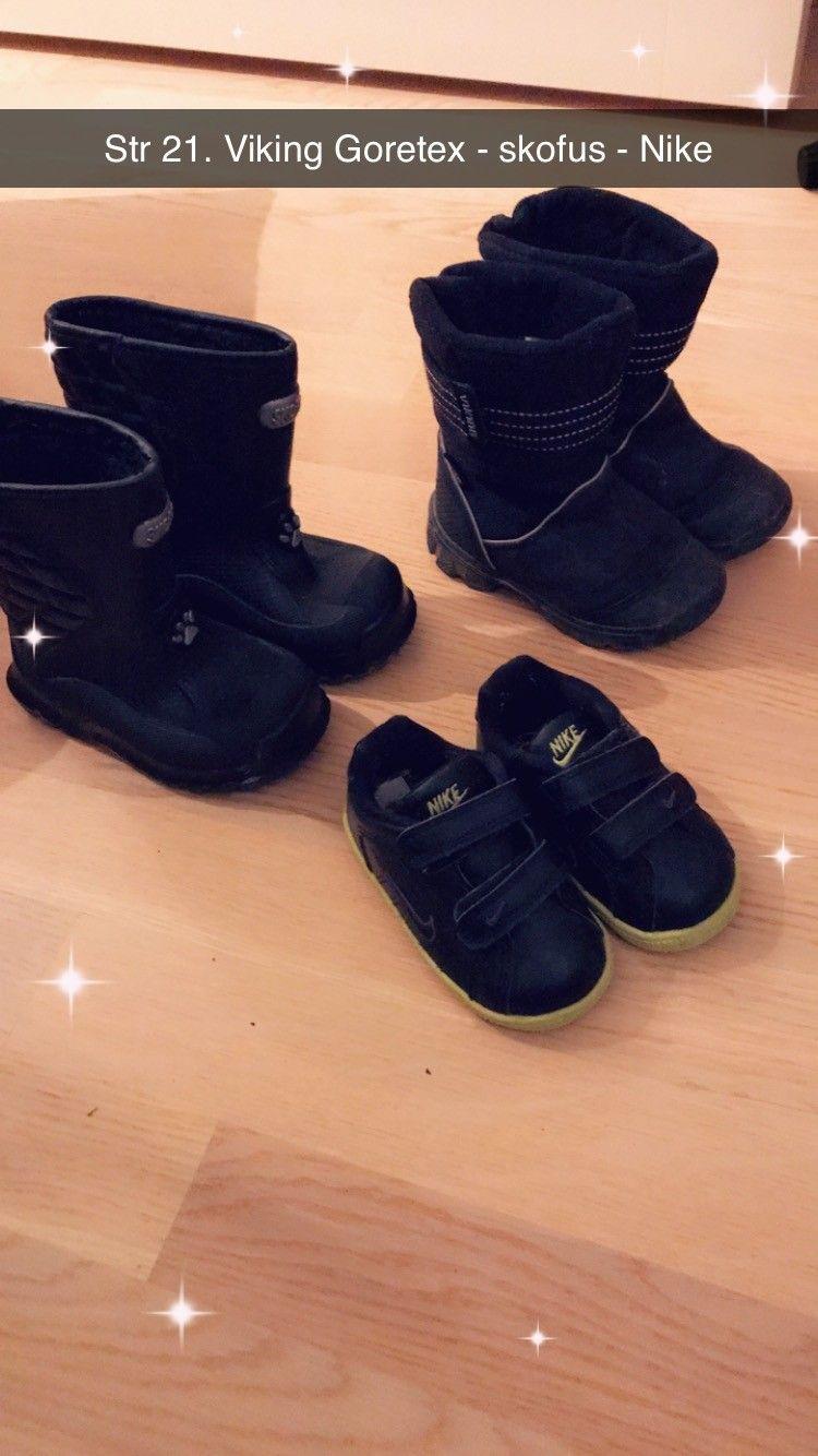 Viking goeretex , skofus gummistøvler og Nike sko str 22