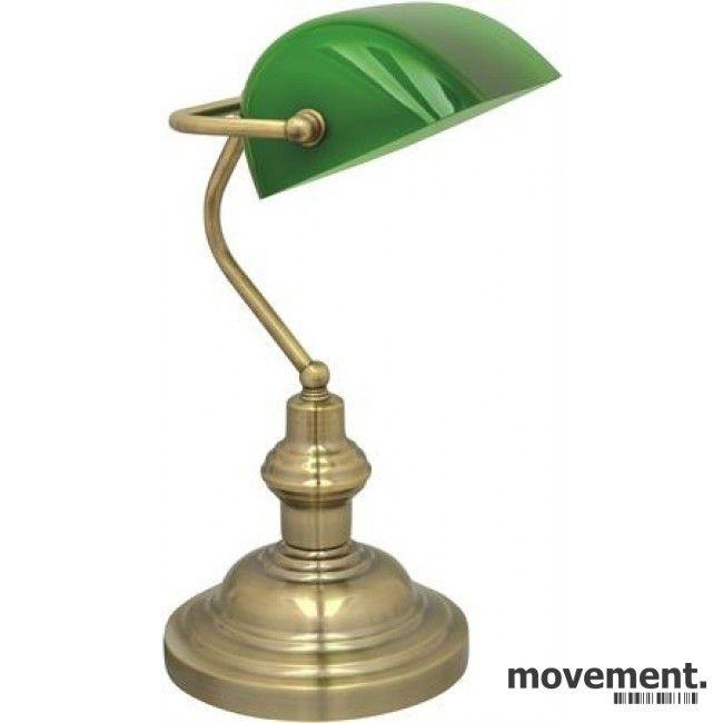 Flott 15 stk Bankier bordlampe med grønn glasskjerm, ny/ubrukt | FINN.no VM-05