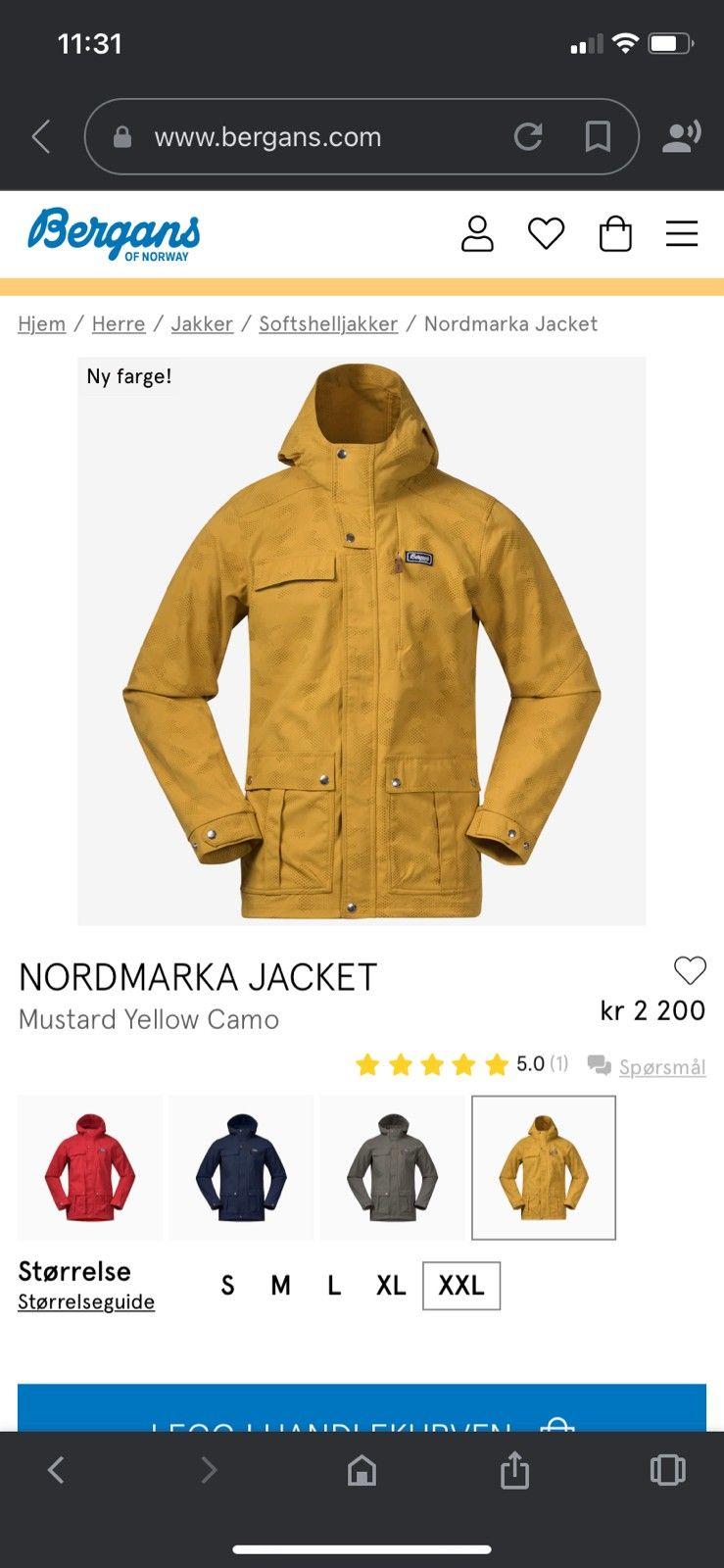 Bergans Nordmarka herre jakke XXL | FINN.no
