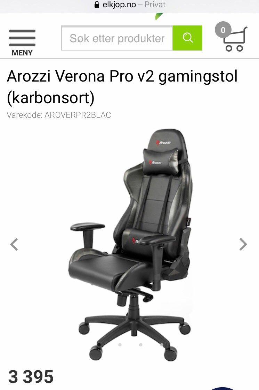 Arozzi Verona Pro v2 gamingstol (karbonsort) Gamingstol og