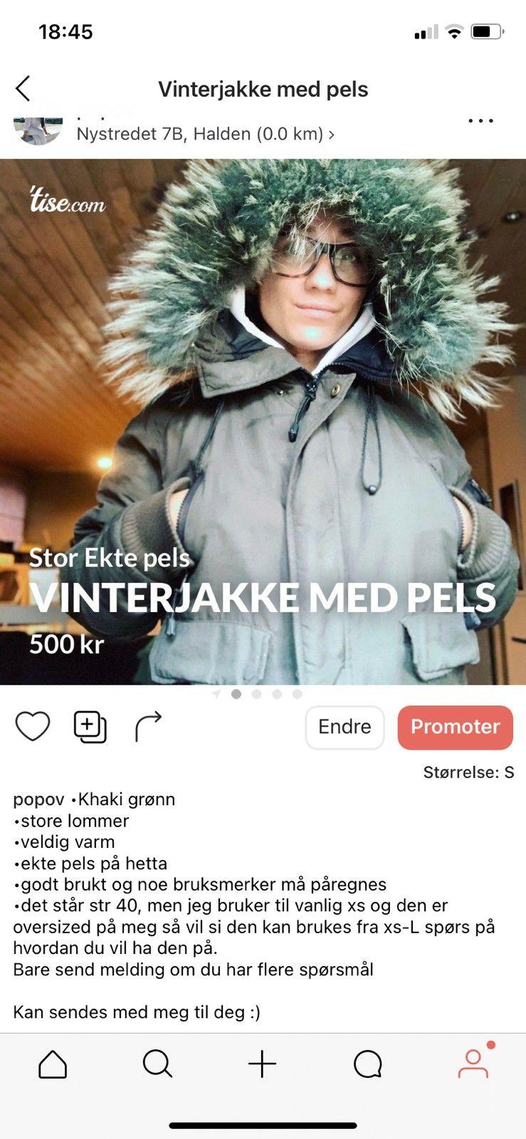 Vinterjakke med ekte pels | FINN.no