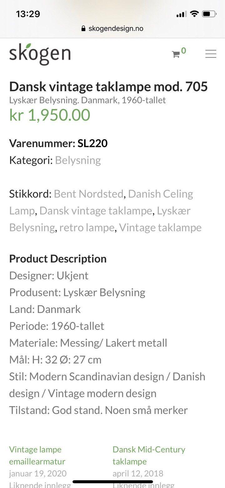 Dansk vintage taklampe mod. 705 – Skogen Design