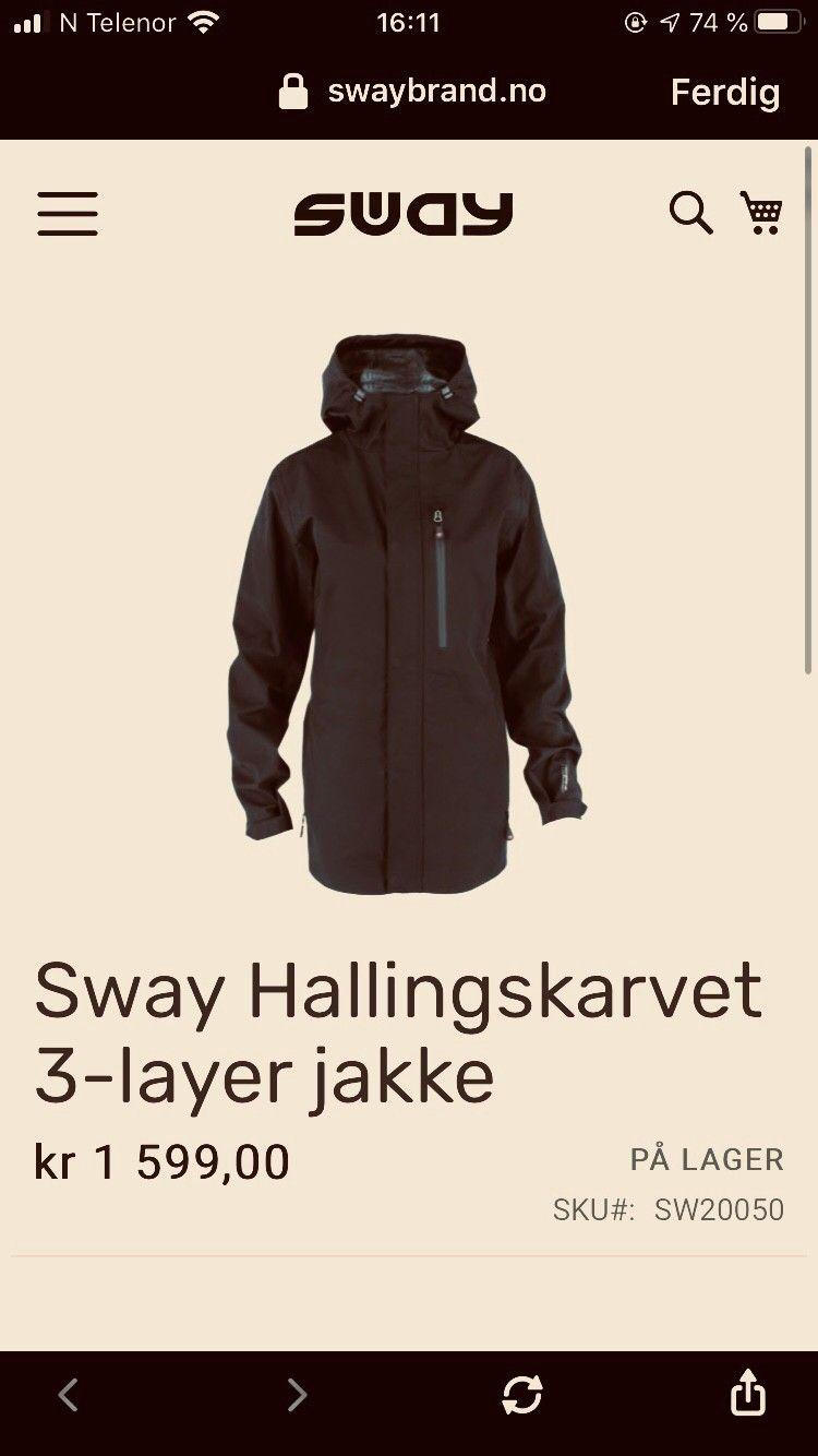Sway Hallingskarvet 3 layer jakke | FINN.no