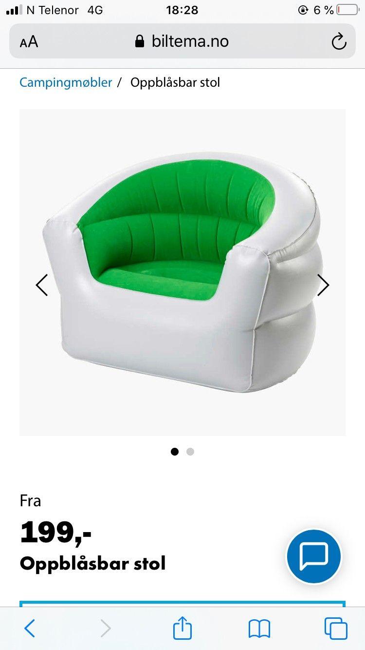 Oppblåsbar stol Biltema.no