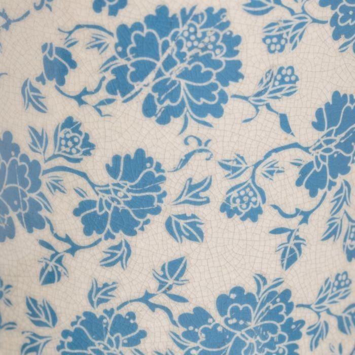 Koselig hvit kjeramikk bordlampe med lyseblå blomster