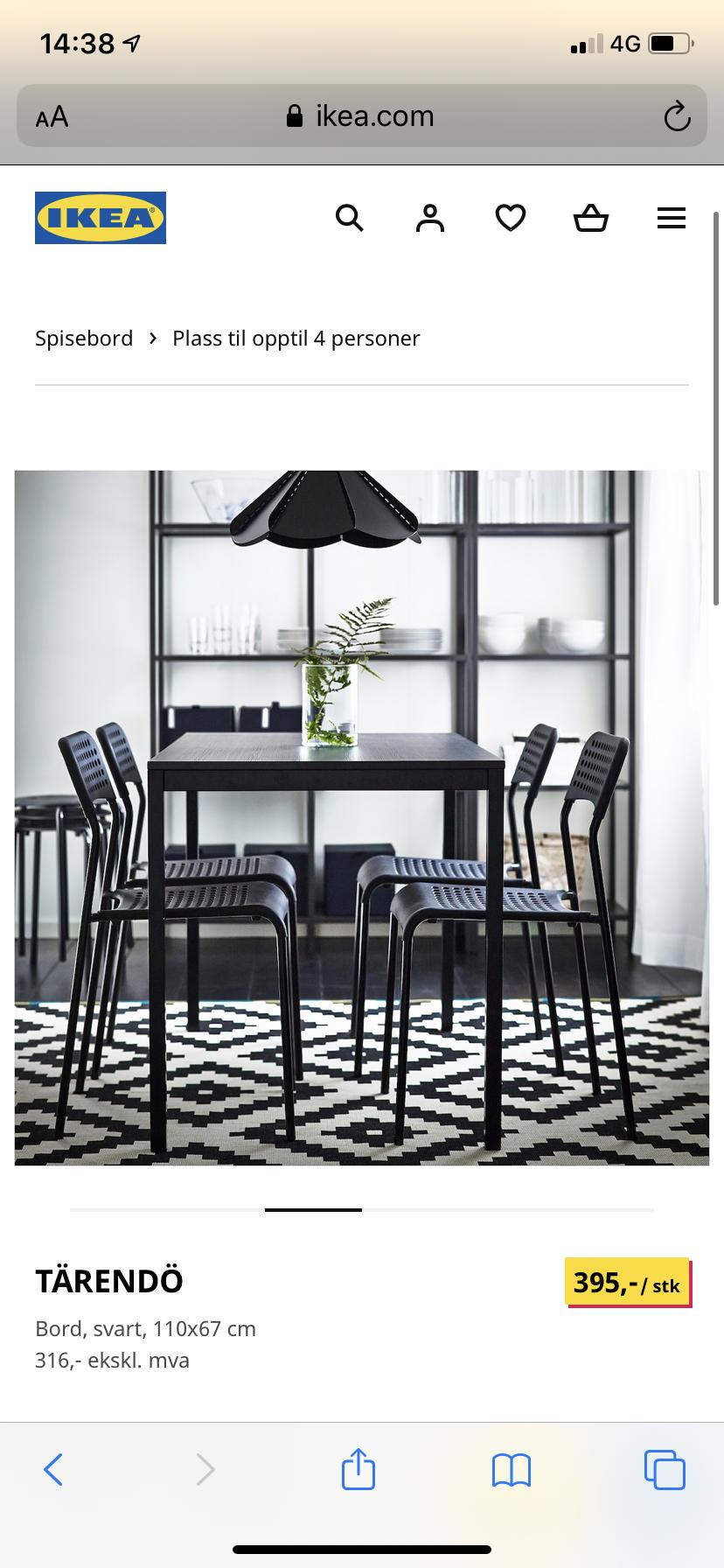 Picture of: Ikea Spisebord 3 Stoler Finn No