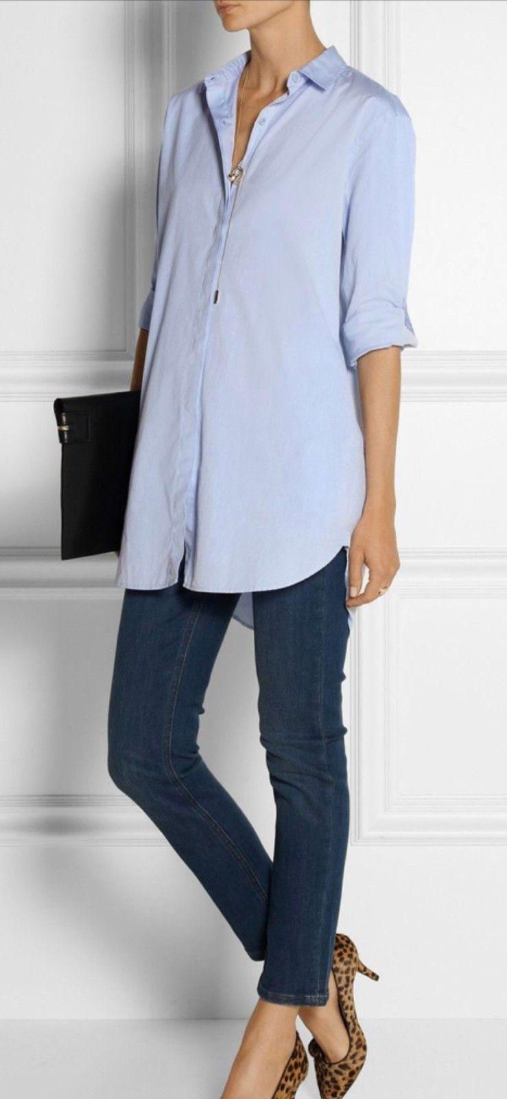 MIH ubrukt lang skjorte lyseblå med oppbrett armene   FINN.no