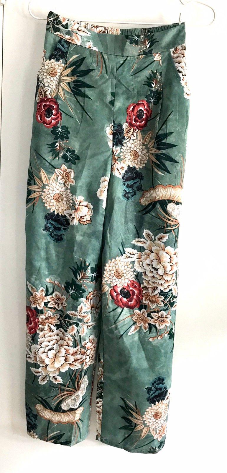 Nydelig culotte bukse, grønn blomstret | FINN.no