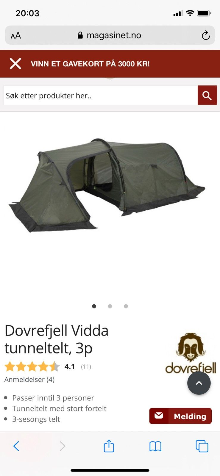 Dovrefjell tunneltelt | FINN.no