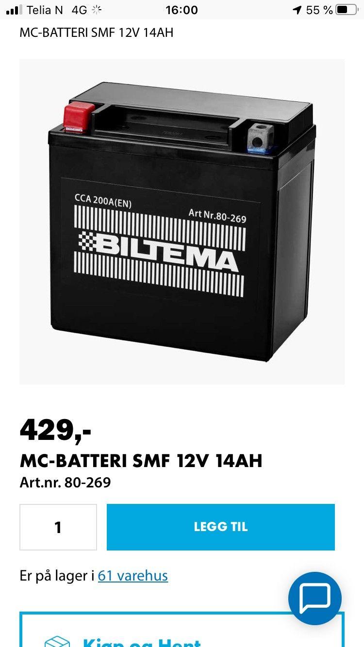 MC BATTERI SMF 12V 14AH Biltema.no