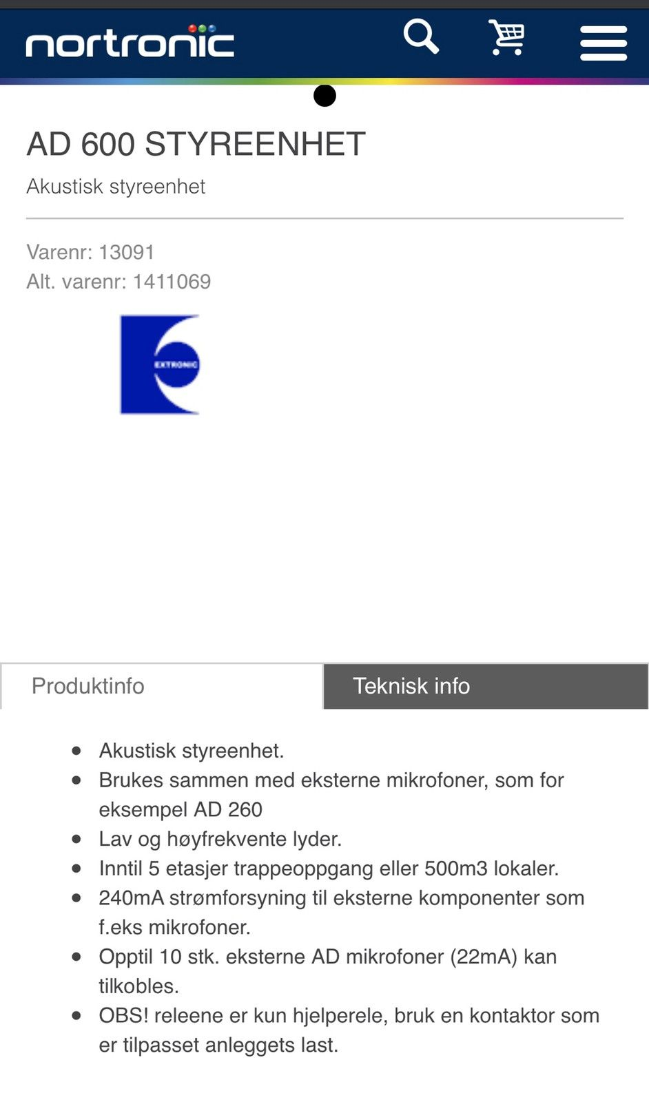 AD 600 STYREENHET Nortronic AS
