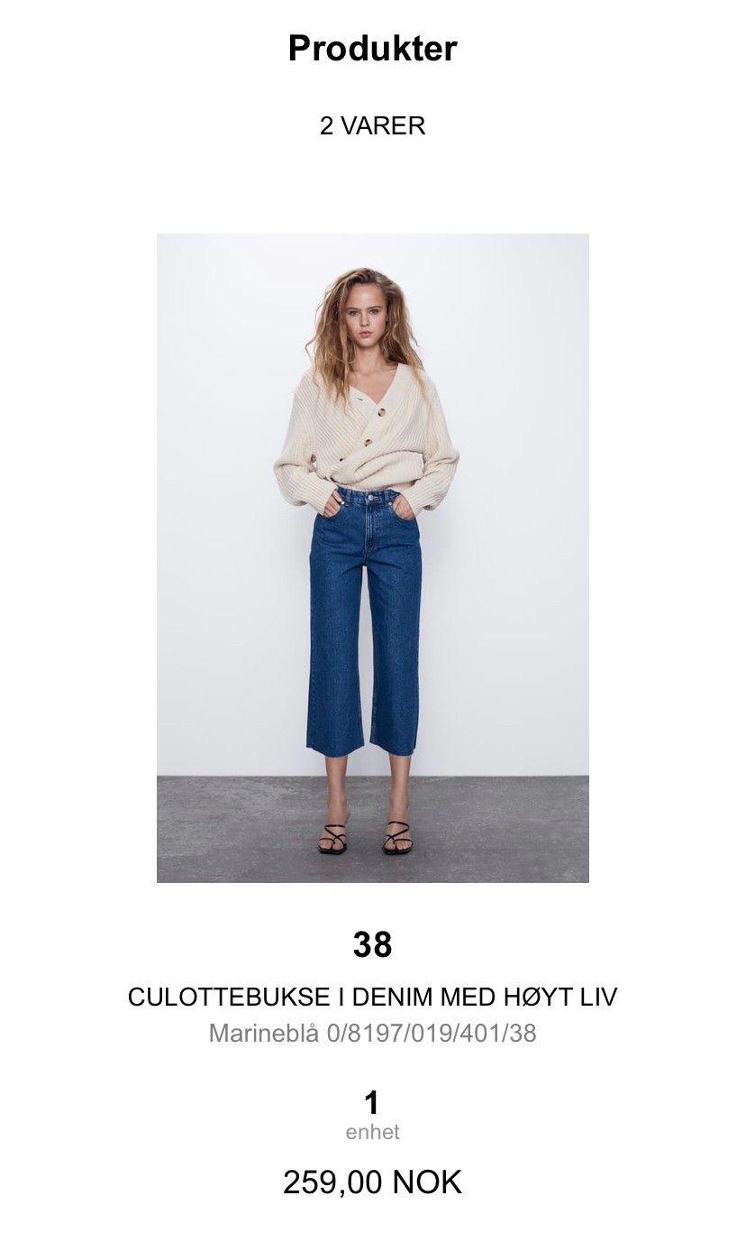 Zara bukse, culottebukse i denim med høyt liv og sleng | FINN.no
