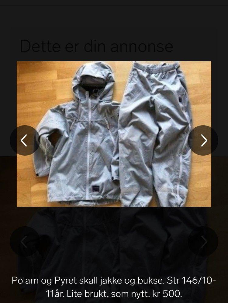Skall jakke og bukse fra Polarn o Pyret, str 98! | FINN.no