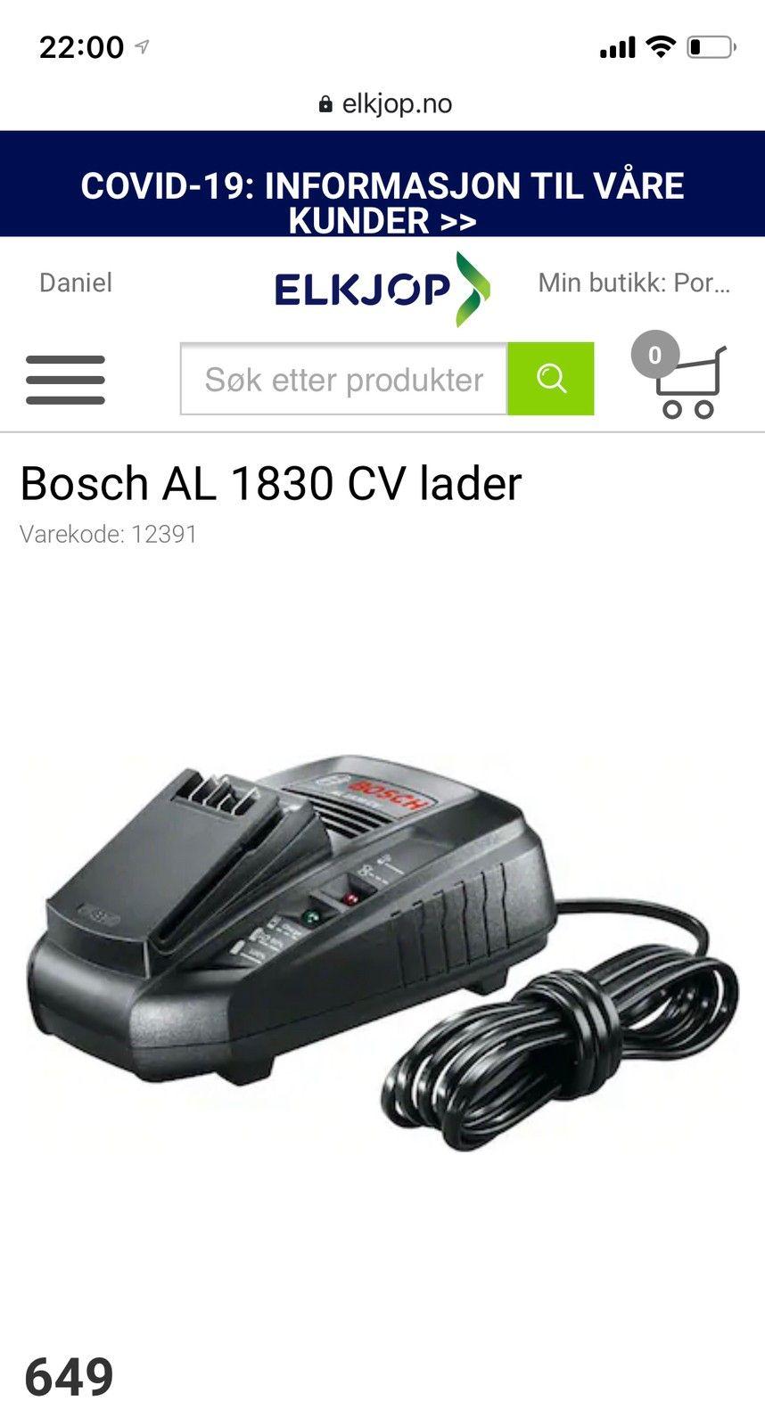 Bosch batterilader med 2 batteri, til grønserie | FINN.no