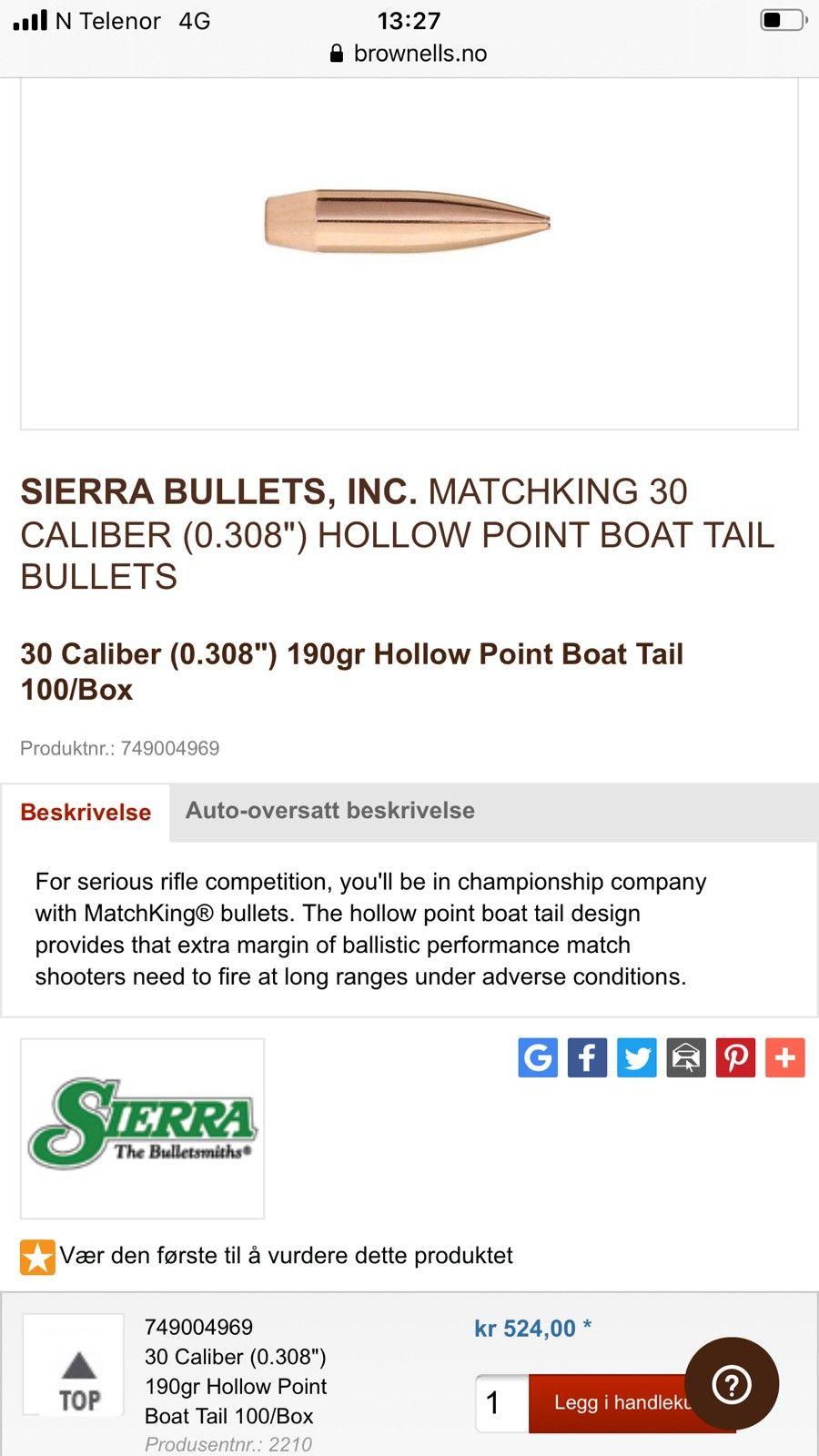 Sierra smk 190 30 kaliber molly match kuler   FINN.no