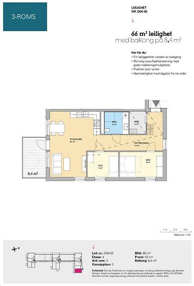 Plantegning som viser leilighet D 04-05
