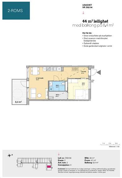 Plantegning som viser leilighet D 02-04