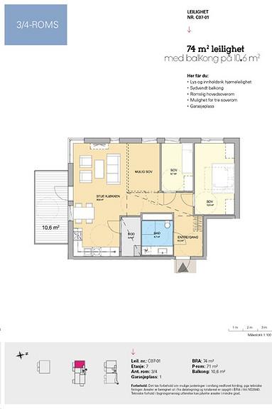 Plantegning som viser leilighet C 07-01