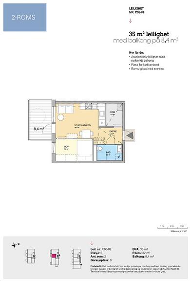 Plantegning som viser leilighet C 05-02